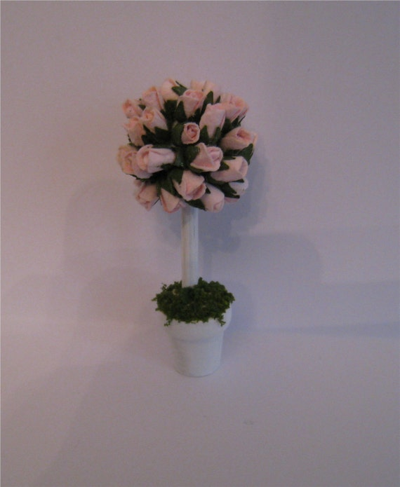 Rose Tree, shabby chic accessory, hand made, twelfth scale dollhouse accessory