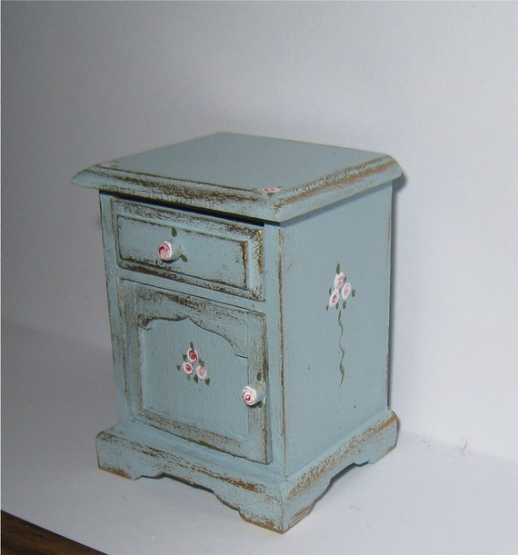 Twelfth scale side or bedside chest..  a dollhouse miniature in twelfth scale