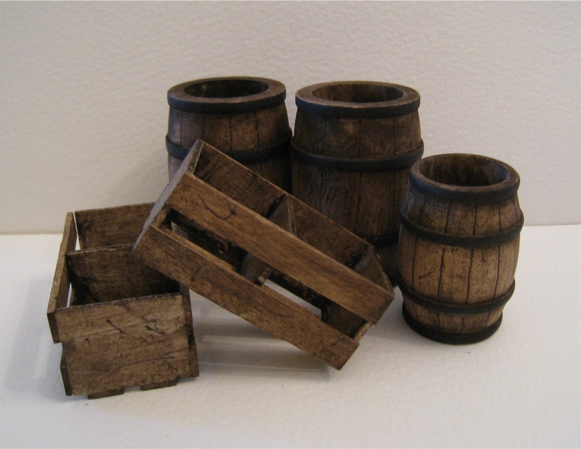 dollhouse barrels crates tudor country medieval barrels. Black Bedroom Furniture Sets. Home Design Ideas