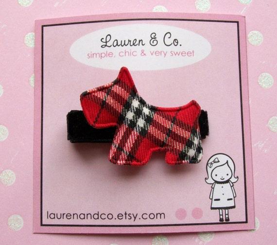 Red Plaid Scottie Dog Hair Clip