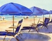 Beach Chairs, Watercolor Print