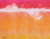 Abstract Watercolor Painting - Tangerine Tie Dye