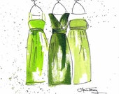 Emerald Green Dresses Art Print