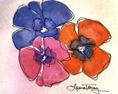 Pansies Watercolor Print