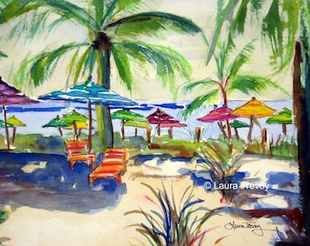 Caribbean Time, Watercolor Print