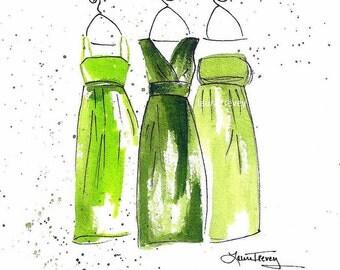Emerald Green Dresses Art Print