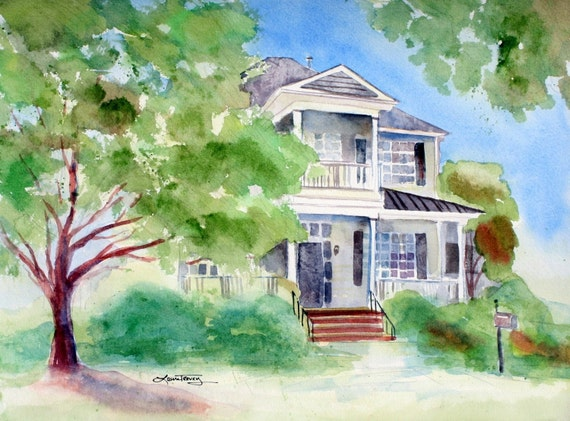 House Paintings items similar to custom house paintings in watercolor on etsy