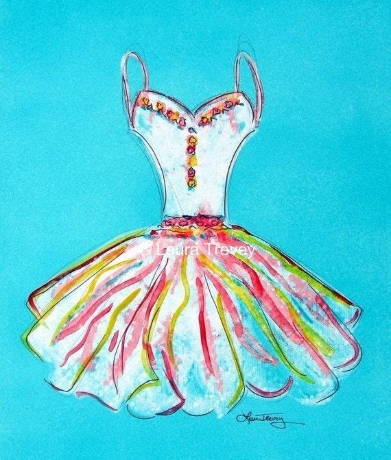 Art Print, Dress in Watercolor