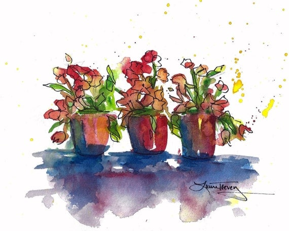 Spring Container Garden, Original Watercolor Painting