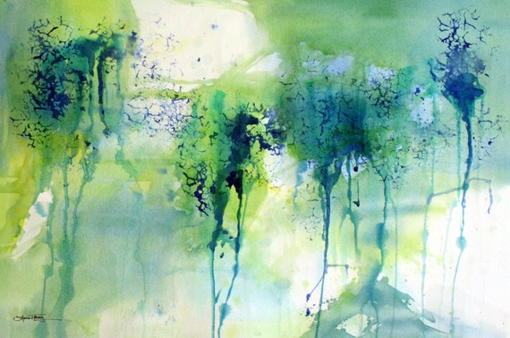 Abstract Painting in Turquoise and Lime