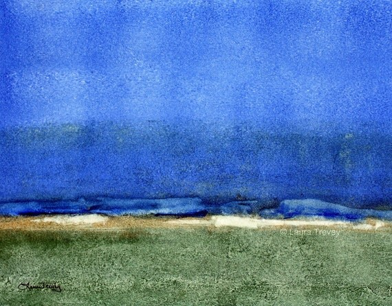 Abstract Watercolor Painting - Blue Horizon