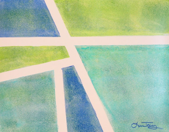 Abstract Watercolor Painting - Turquoise and Lime