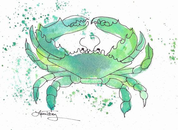 Crab Watercolor Print in Seafoam Green