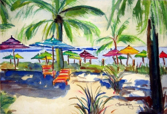 Caribbean Time, Limited Edition Watercolor, 8 by 10, by Laura Trevey