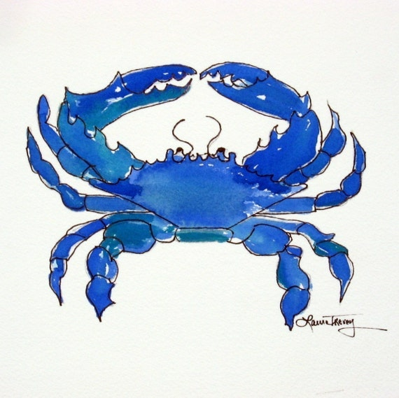Chesapeake Bay Blue Crab, Limited Edition Watercolor , 8 by 10