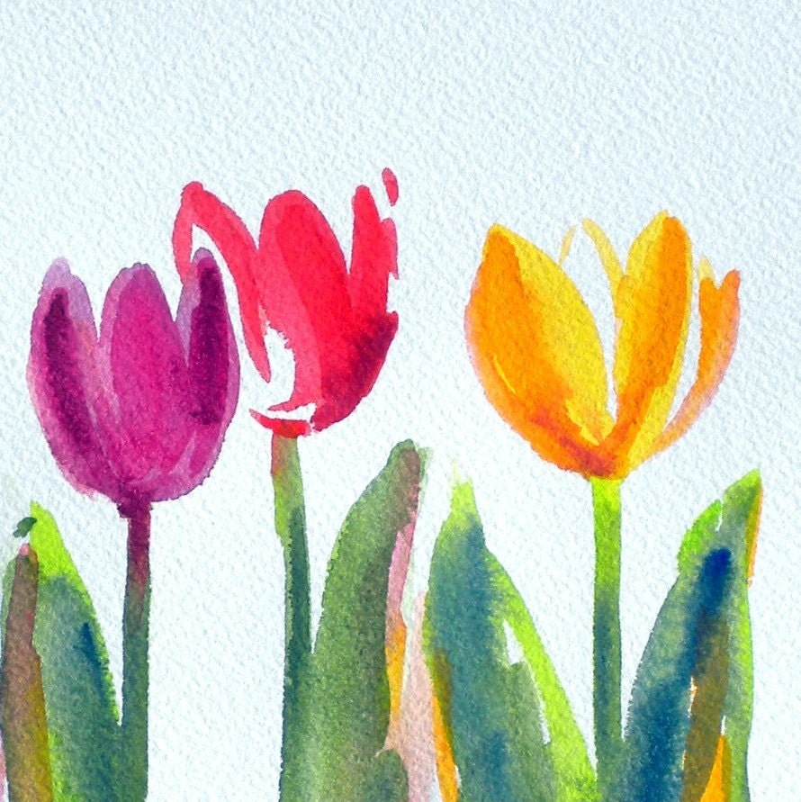 Simple and sweet original watercolor painting just in time for Easy watercolor for beginners