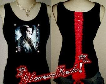 Johnny Depp Sweeney Todd Rhinestone T Shirt Corset