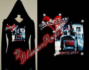 Sweeney  Todd Johnny Depp  Rhinestone Crystal Hoodie T Tee Shirt 3/4 Sleeve Top bling Glamour Glamour Rocks
