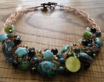Aquatic Sea Crocheted Wire Necklace