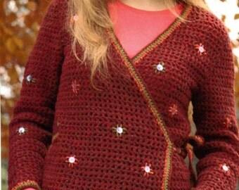 PATTERN for Crochet Crossover Cardigan UK version