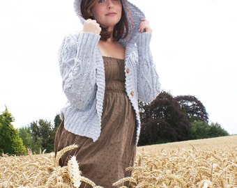 Ladies Cable Jacket with Hood Knitting Pattern PDF