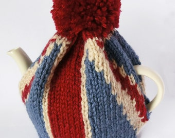 Union Jack Tea Pot Cozy Knitting Pattern