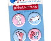 "Cute ""Abstinence is Key"" Pinback Button Set - blue and pink cats"
