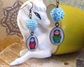 Fun Funky Earrings Babushka Ladies Blue Vintage Beads