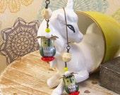Green Owl Bird Earrings Vintage Beads White Unicorn