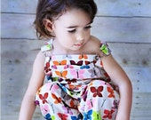 Overall in Pretty Pink and Purple Butterflies - infant size only - one left