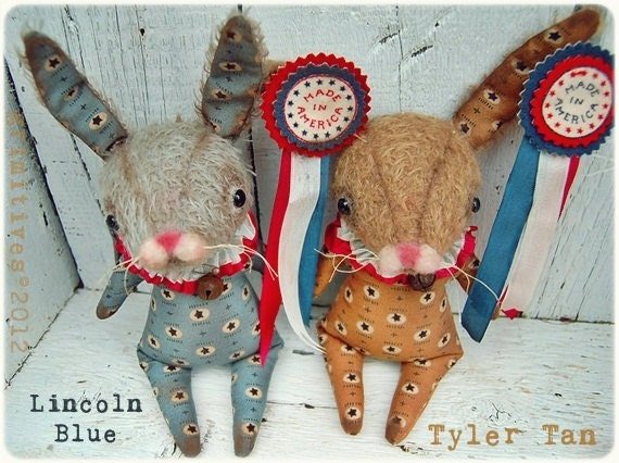 Primitive Americana Mohair Bunny Doll