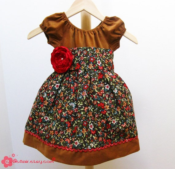 Boutique Style Caramel and Floral Peasant Dress- Size 3T - ON SALE