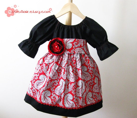 Fancy Peasant Dress Black and Red - Size 4T