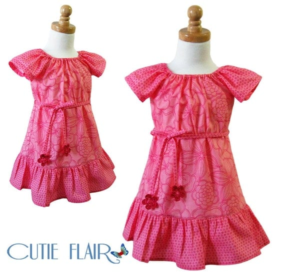 Boutique Style Peasant Dress Hot Pink Tones and  Crochet Flowers Size 2T- ON SALE