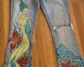 Custom Hand-Painted Jeans (Adult or Teen)-Female Figure by Amber Cunningham