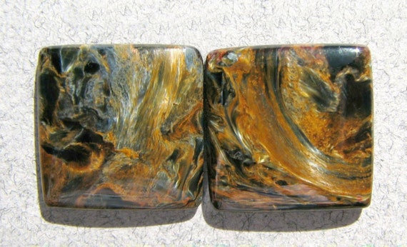 Gorgeous Flashy Chatoyant Pietersite Matched Cabochon Pair
