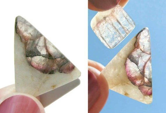 Two Pink and Blue-Green Tourmaline Crystals in Albite Cabochons