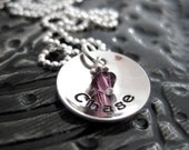 Personalized Necklace - Hand Stamped Jewelry - TINY Cup with Birthstone