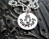 Hand Stamped Mommy Necklace - Sterling Silver Personalized Jewelry - Teeny Brag with Birthstone