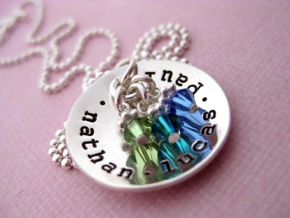 Cup of Love Brag - Hand Stamped Sterling Silver Name Pendant with Swarovski Birthstones