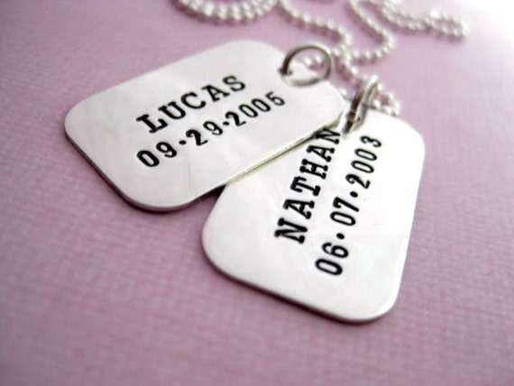 Dog Tags - Personalized Hand Stamped Sterling Silver Jewelry - Proud Papa