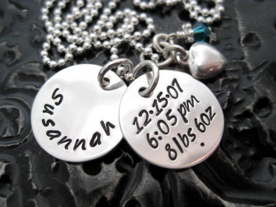 Personalized Jewelry - Hand Stamped Mommy Necklace - Sterling Silver - All The Details