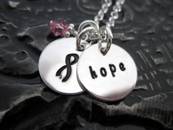 Awareness Necklace - Hand Stamped Necklace - Awareness & Hope