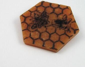 Busy Bees Honeycomb Brooch, amber polymer clay mixed media pin