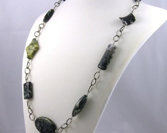 Mixed Greens Asymmetric Necklace, japser and agate gemstone beads on sterling silver chain links, toggle clasp