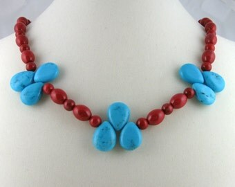 Turquoise and Red Necklace, blue teardrops and cherry red beads with sterling silver, southwestern jewelry