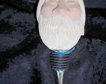 Santa Claus St. Nicholas Bottle Stopper Hand Carved