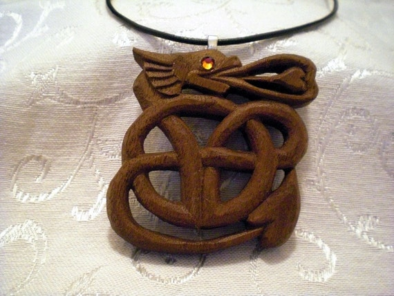 Celtic Dragon Pendant, Hand Carved from Walnut