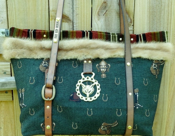 Borders Steeplechase Tote in hunter green tapestry with mink trim and horse tack