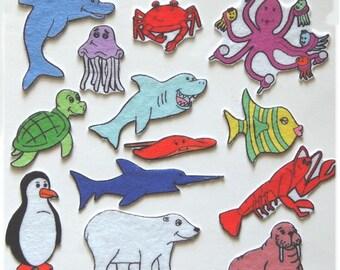 Ocean Animals Creatures -Commotion in the Ocean -Felt Board Set